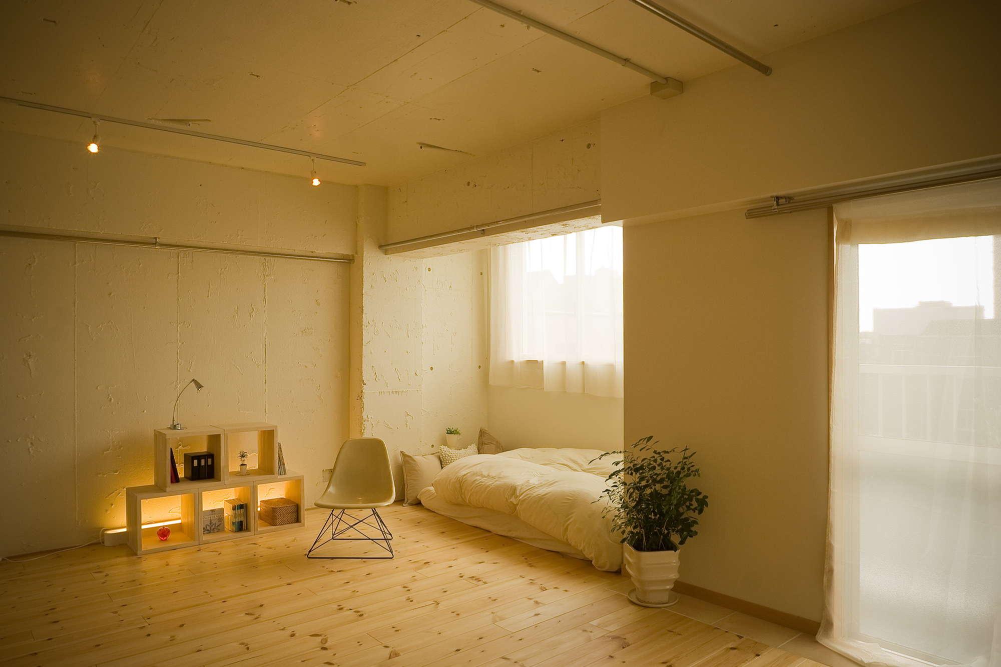 無垢床のリビングルーム